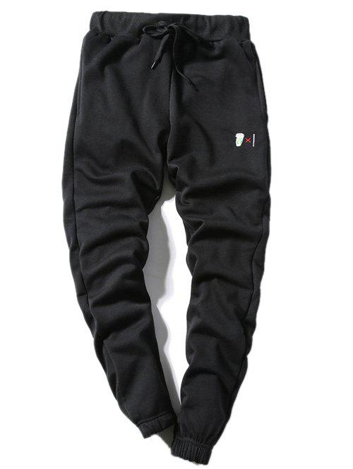 Outfits Coffee Cup Embroidered Lace-Up Beam Feet Jogger Pants