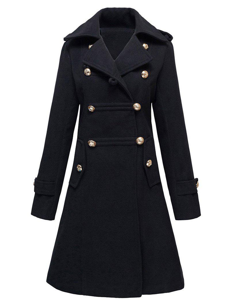 Double-Breasted Woolen Long CoatWOMEN<br><br>Size: L; Color: BLACK; Clothes Type: Wool &amp; Blends; Material: Cotton; Type: Slim; Shirt Length: X-Long; Sleeve Length: Full; Collar: Turn-down Collar; Pattern Type: Solid; Embellishment: Button; Style: Fashion; Season: Fall,Winter; Weight: 1.180kg; Package Contents: 1 x Coat;
