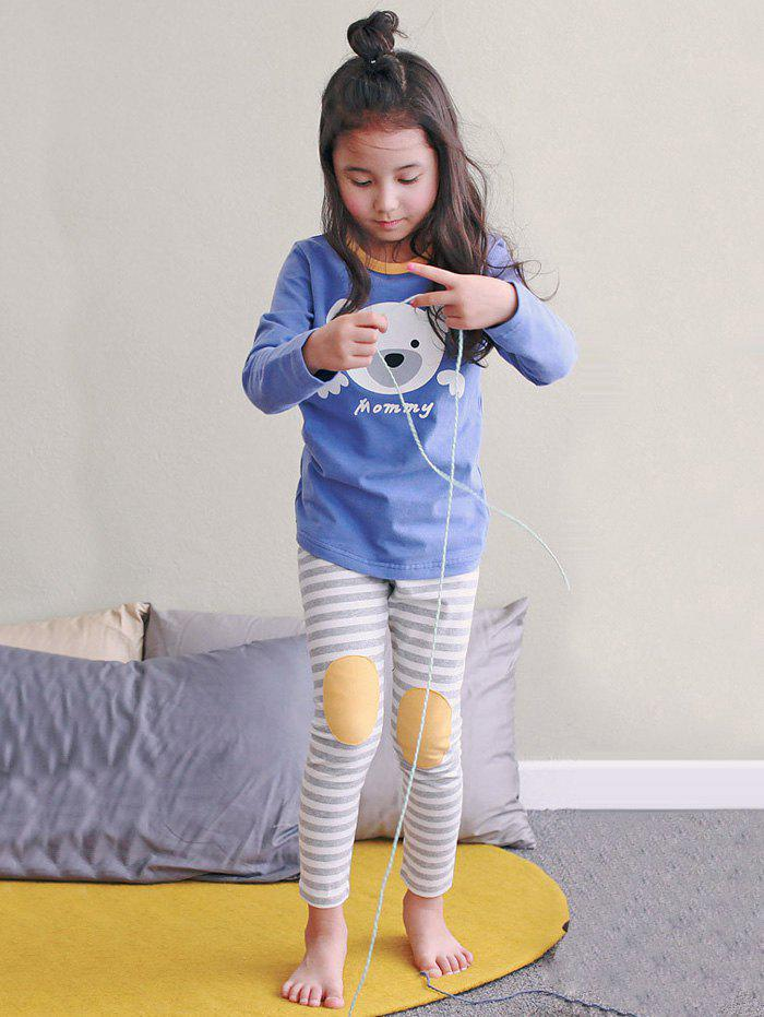 Fancy Kids Cartoon Bear Print Long Sleeve Striped Pajamas