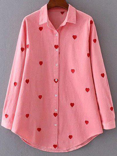 Unique Heart Pattern Embroidered Corduroy Button Up Shirt