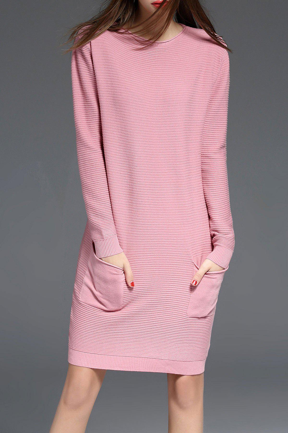 Best Ribbed Long Sleeve Sweater Dress with Pocket