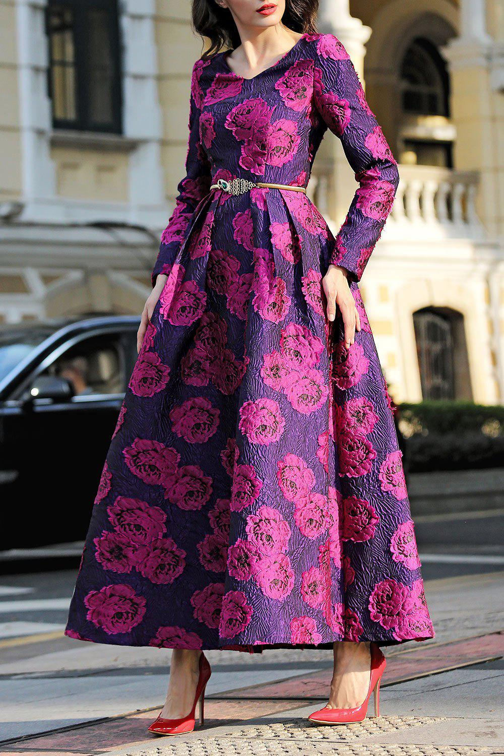 Shops Jacquard Long Sleeve Maxi Formal Party Dress