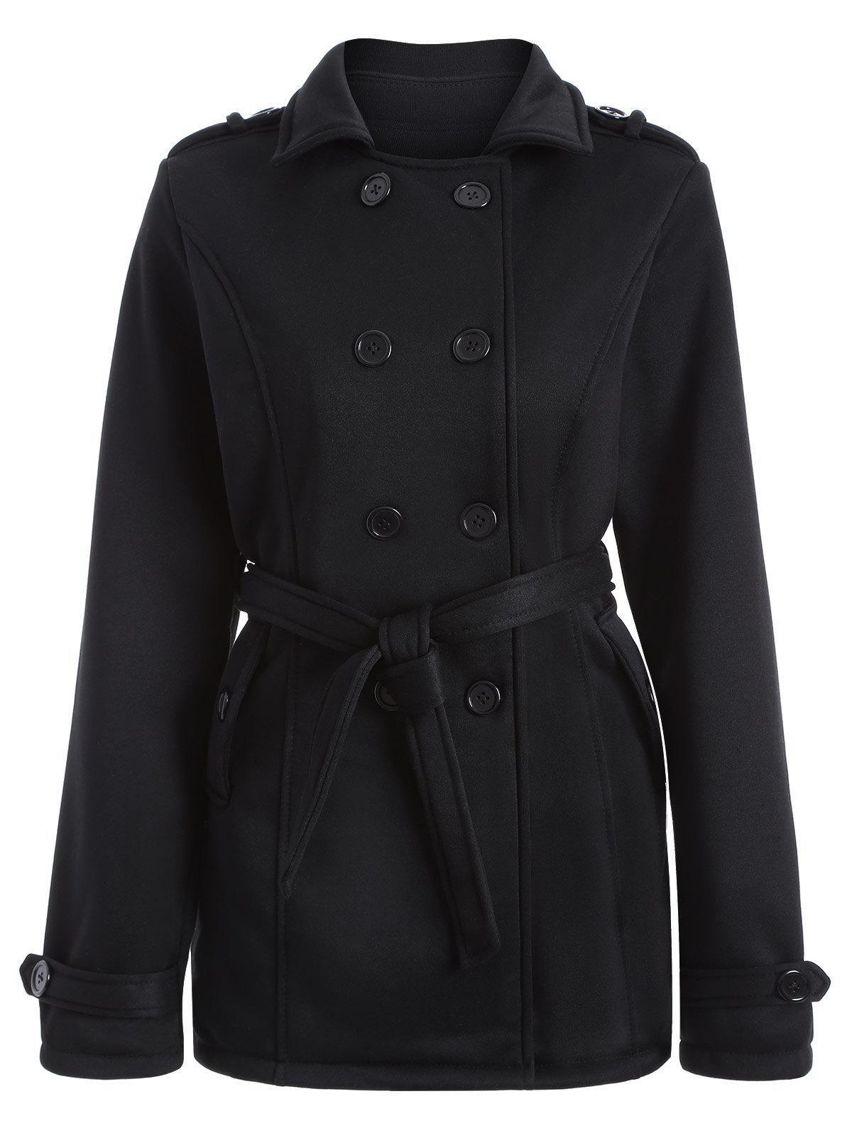 Buy Double-Breasted Fitted Belted Overcoat