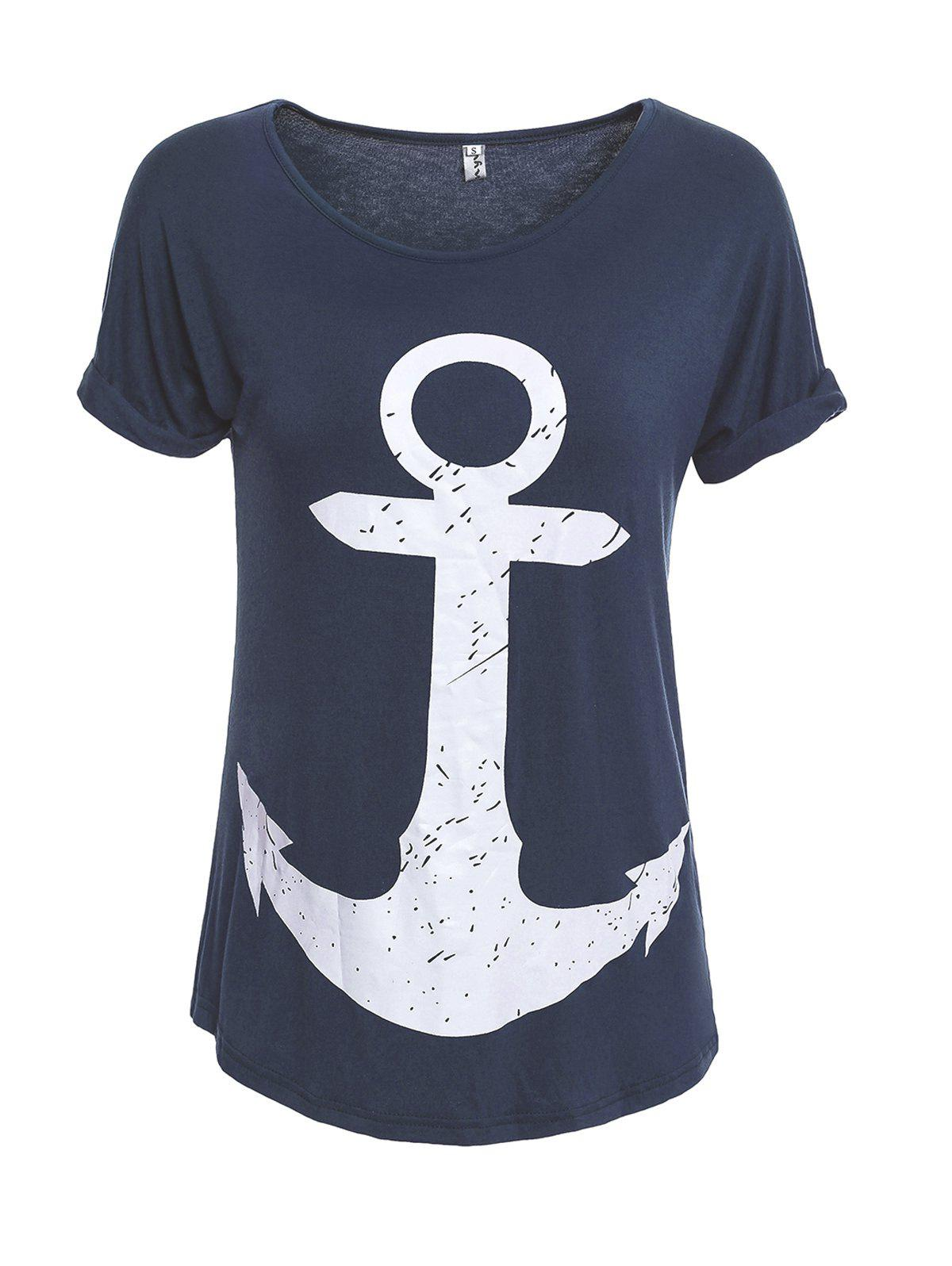 Buy Cuffed Sleeve Anchor Print Tee