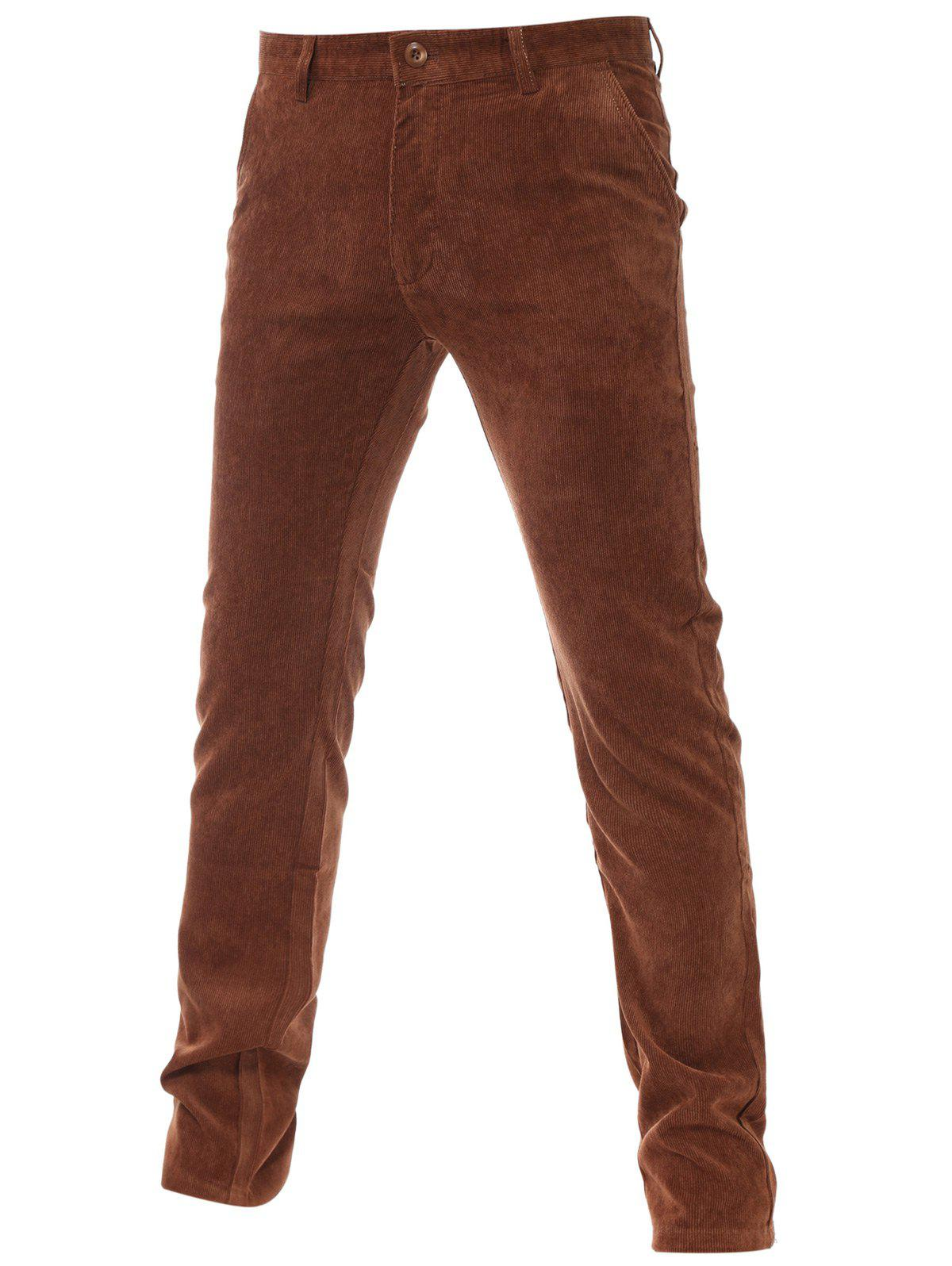 New Flocking Lining Zipper Fly Plain Corduroy Pants