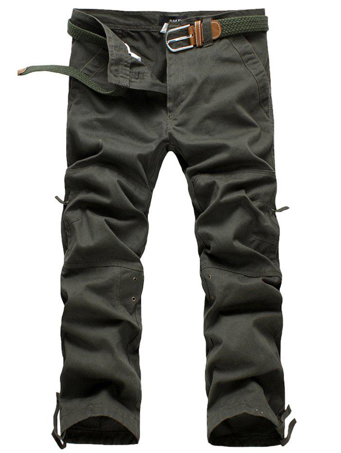 Unique Zipper Fly Straight Leg Splicing Pockets Cargo Pants