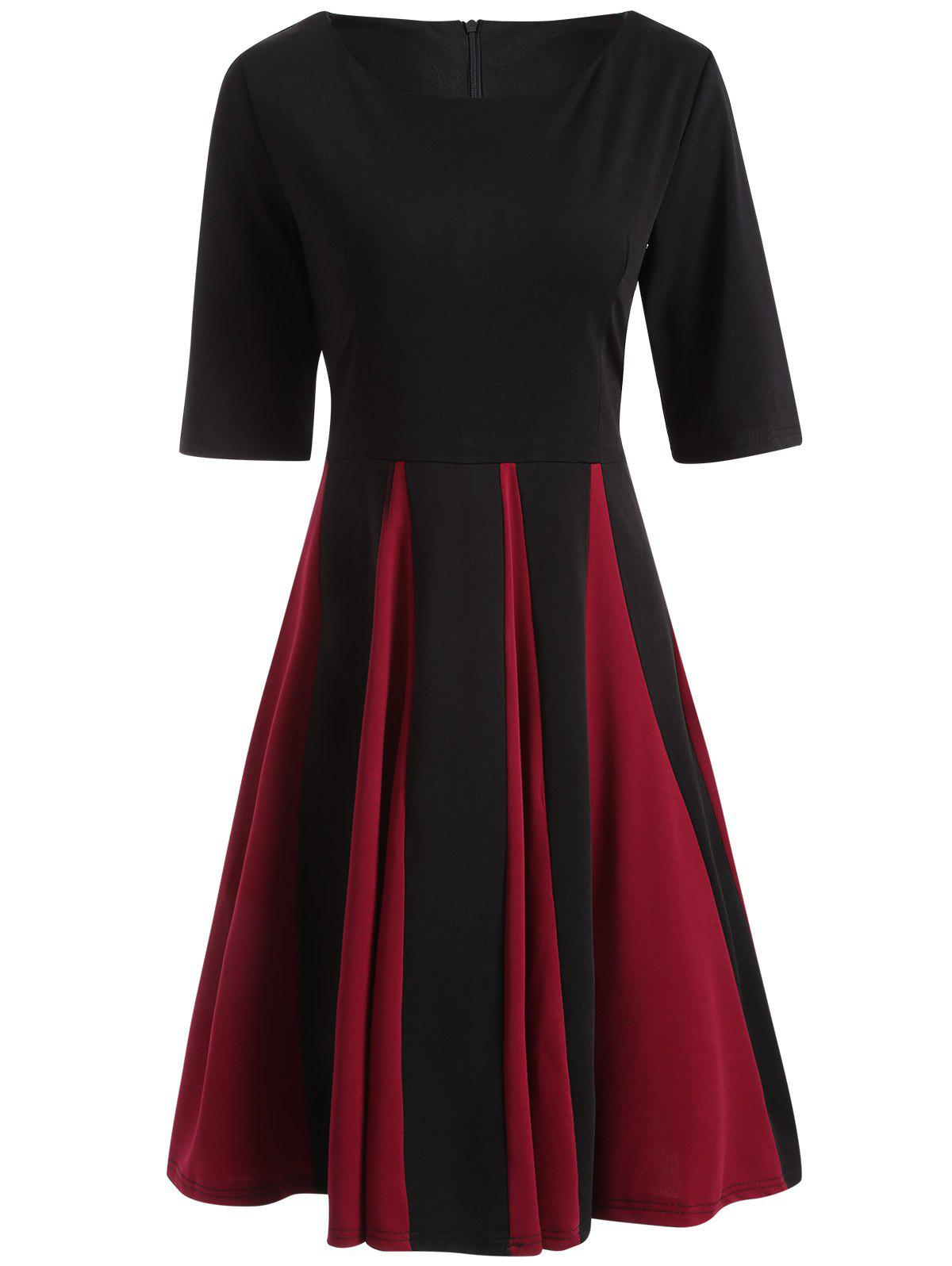 Black 2xl Color Block Fit And Flare Pleated Dress