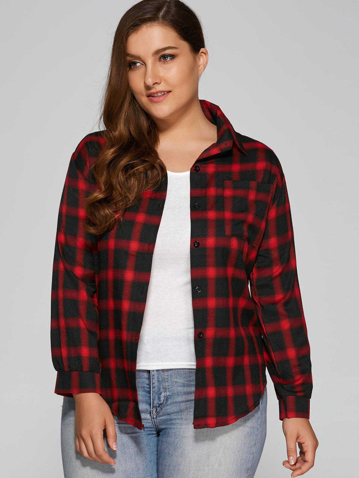 Wine red flannel plus size plaid shirt for Plus size plaid flannel shirt