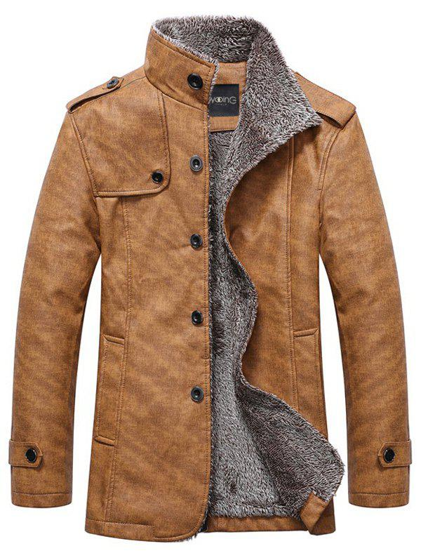 Stand Collar Single-Breasted Epaulet Embellished JacketMEN<br><br>Size: M; Color: KHAKI; Clothes Type: Jackets; Style: Fashion; Material: Cotton,Faux Leather,Polyester; Collar: Stand Collar; Shirt Length: Regular; Sleeve Length: Long Sleeves; Season: Winter; Weight: 1.2250kg; Package Contents: 1 x Jacket;