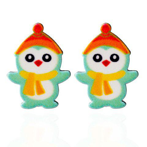 Penguin Snowman Christmas Stud EarringsJEWELRY<br><br>Color: GREEN; Earring Type: Stud Earrings; Gender: For Women; Style: Trendy; Shape/Pattern: Animal; Weight: 0.030kg; Package Contents: 1 x Earring (Pair);