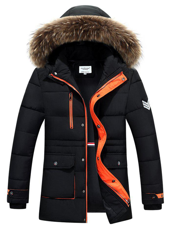Furry Hood Color Block Zip-Up Padded CoatMEN<br><br>Size: M; Color: BLACK; Clothes Type: Padded; Style: Active,Fashion; Material: Cotton,Down,Faux Fur,Polyester; Collar: Hooded; Shirt Length: Long; Sleeve Length: Long Sleeves; Season: Winter; Weight: 1.344kg; Package Contents: 1 x Coat;