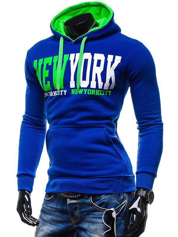 Store New York Printed Kangaroo Pocket Pullover Hoodie