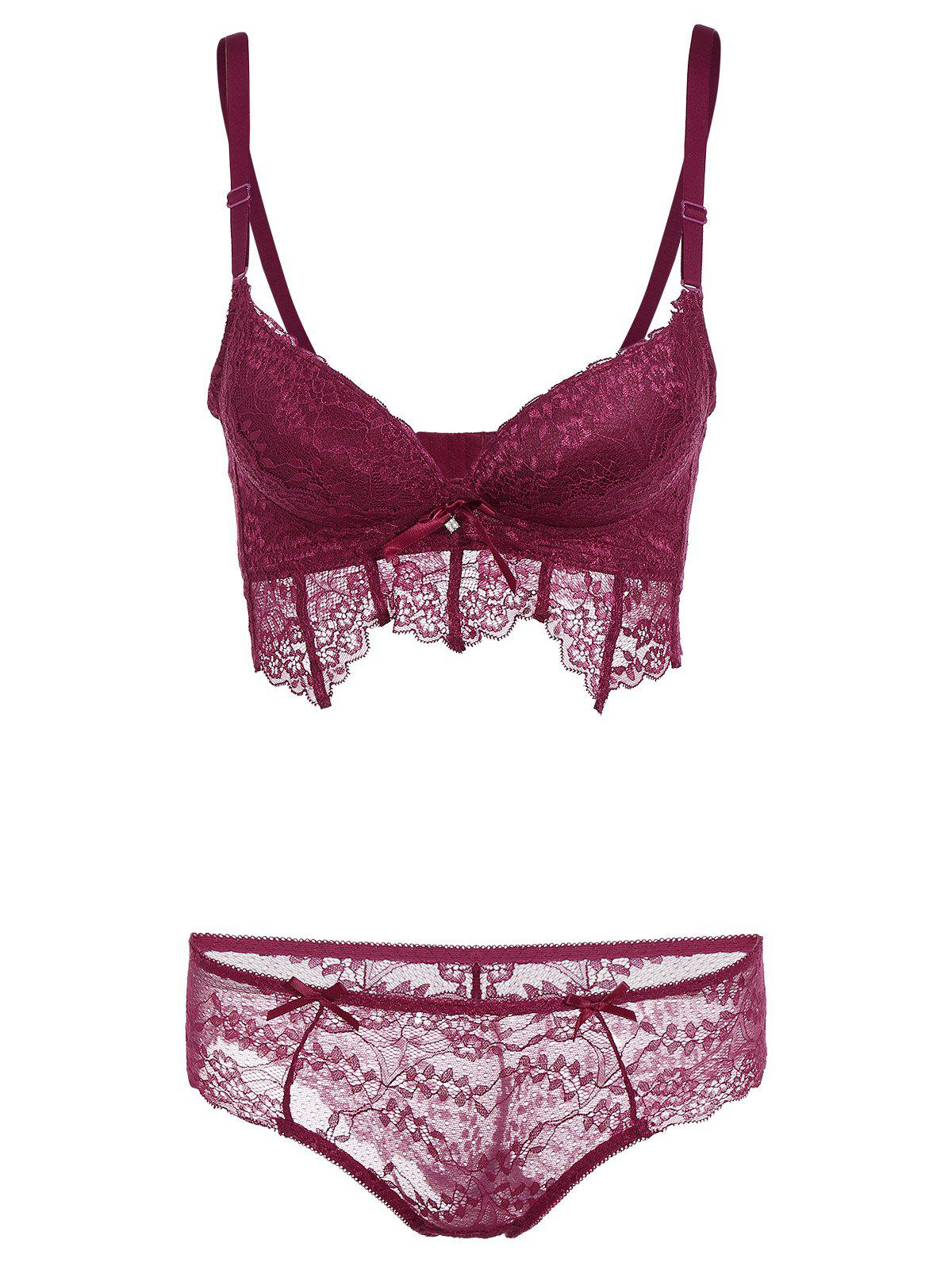 Underwire Lace Push Up Bra Set