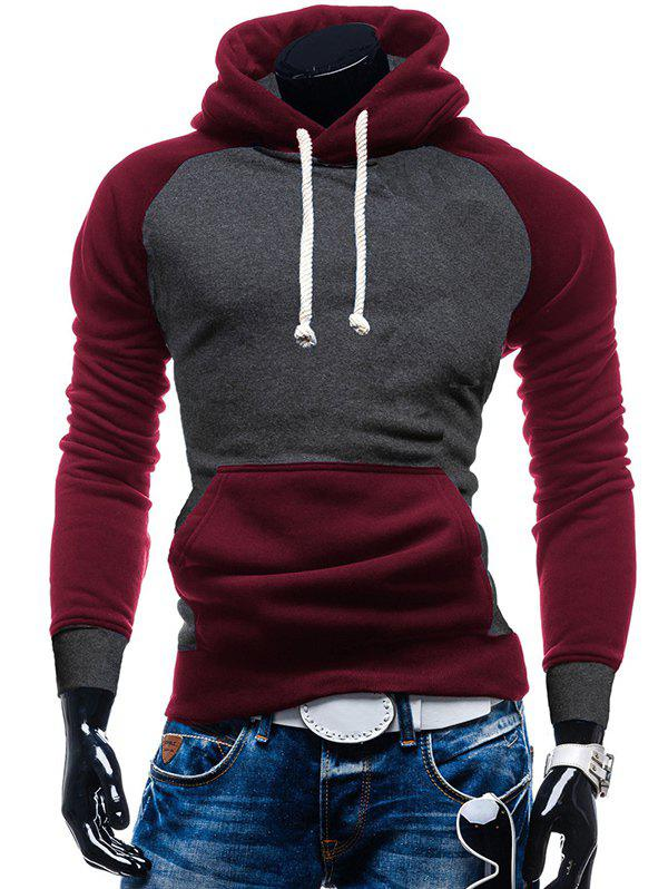 Trendy Raglan Sleeve Color Block Kangaroo Pocket Hoodie