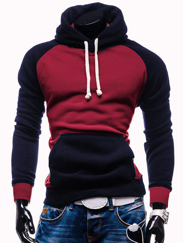 Hot Raglan Sleeve Color Block Kangaroo Pocket Spliced Hoodie