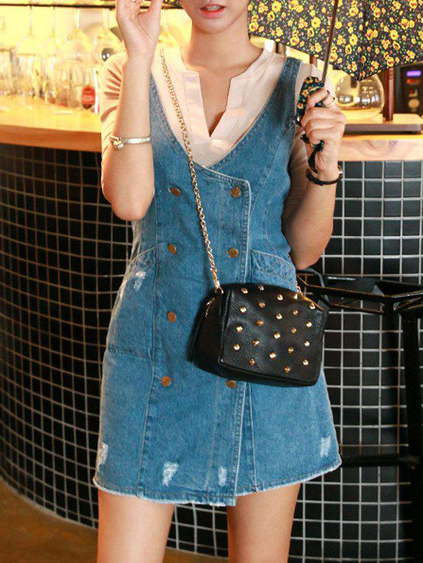 Button Down Distressed Denim Robe droite