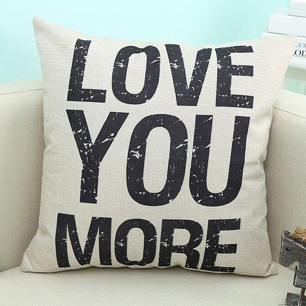 Home Decor Love You More Quote Printed Sofa Pillow CaseHOME<br><br>Color: BEIGE; Material: Linen; Pattern: Printed; Style: Modern/Contemporary; Shape: Square; Size(CM): 45*45; Weight: 0.110kg; Package Contents: 1 x Pillow Case;