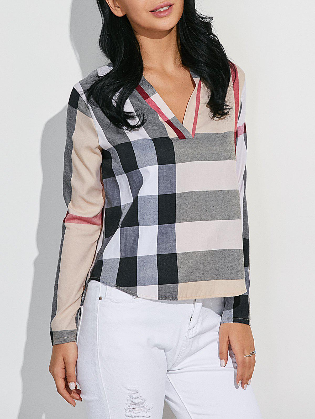 Discount High-Low Checked Slimming Blouse