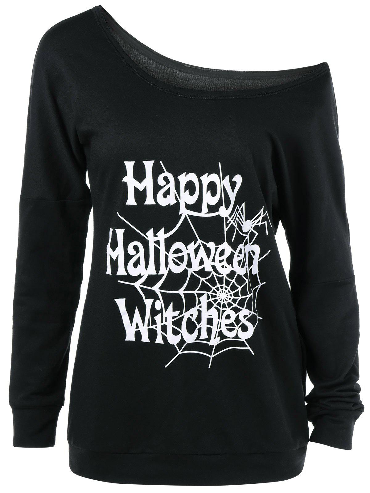 Trendy Plus Size Skew Collar Halloween Graphic T-Shirt
