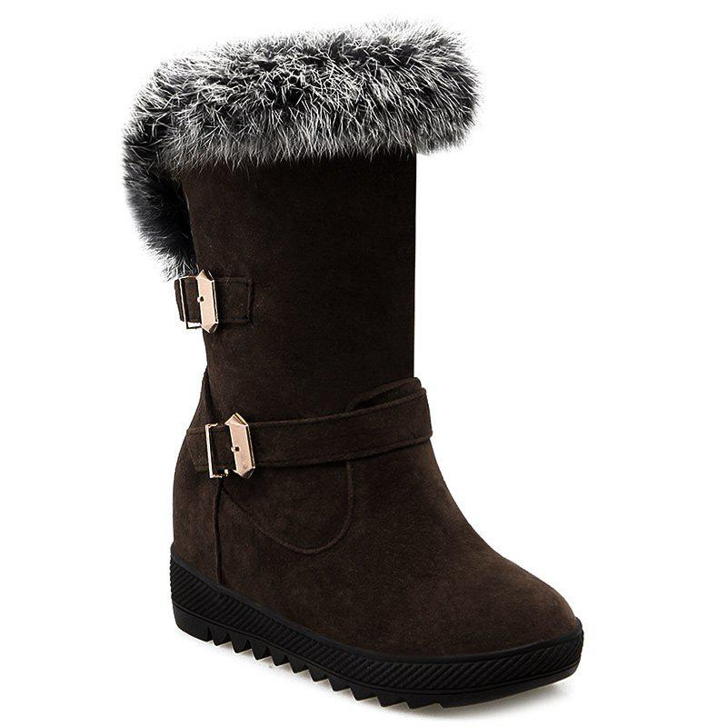 Outfits Buckles Faux Fur Hidden Wedge Snow Boots