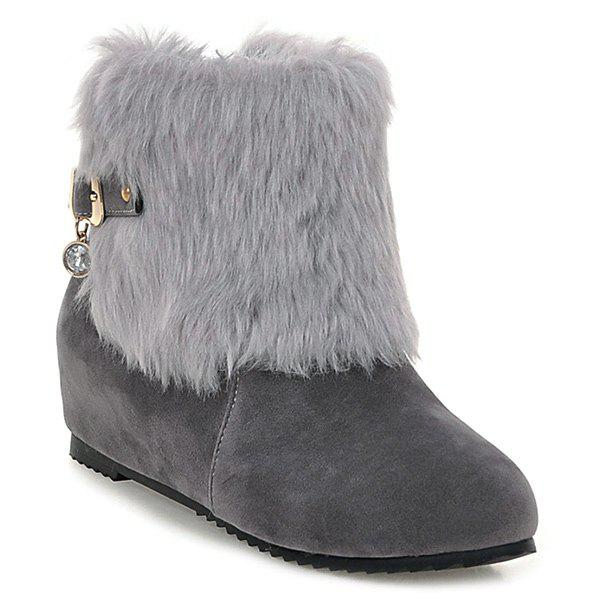 New Buckle Faux Fur Hidden Wedge Boots