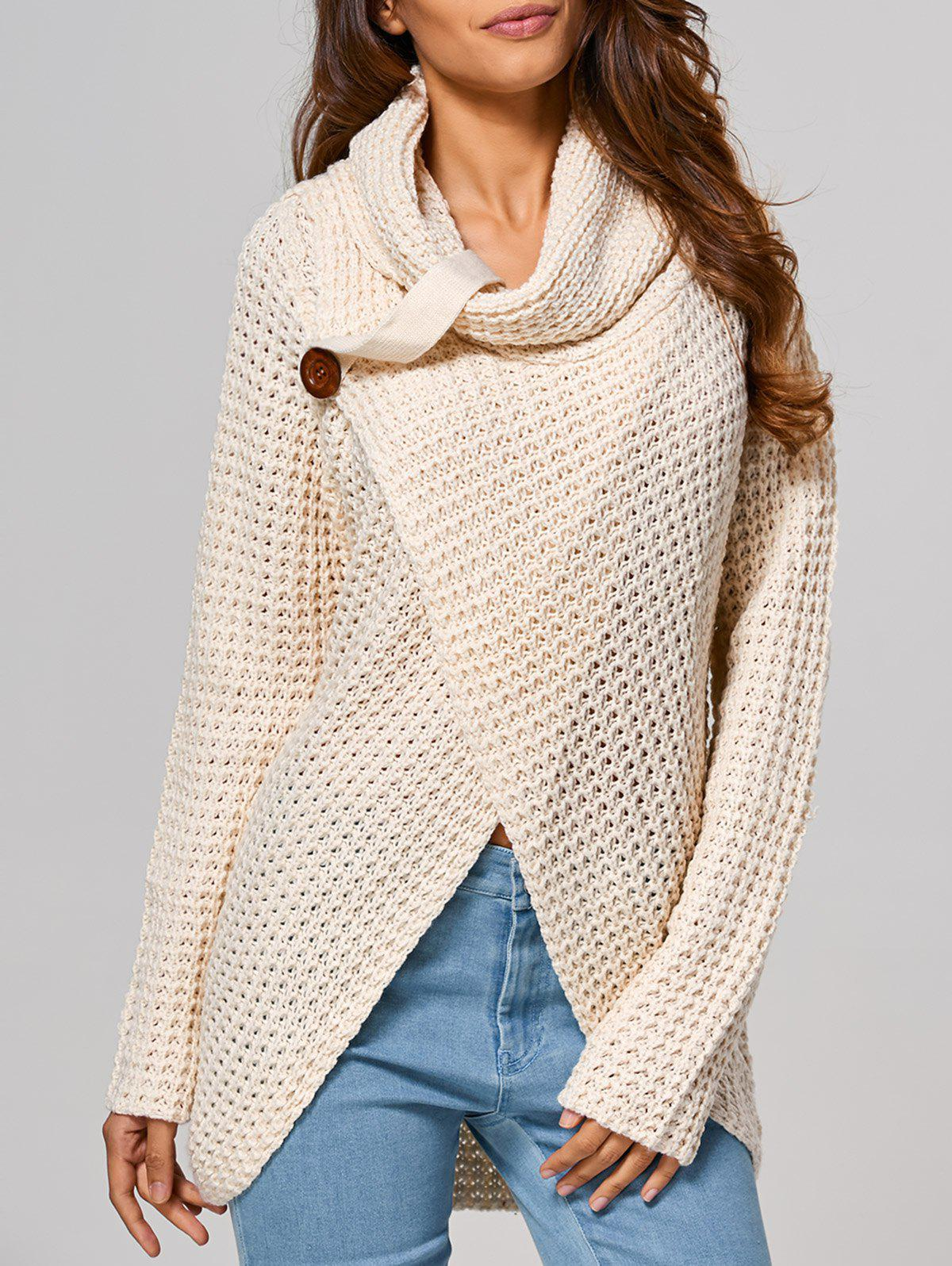 Creuser Out Front Slit Wrap Sweater Beige S