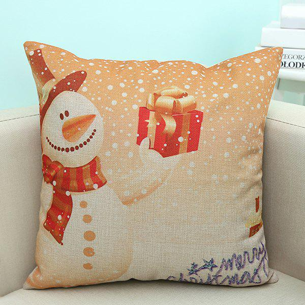 Linen Christmas Snowman Printed Home Decor Pillow CaseHOME<br><br>Color: APRICOT; Material: Linen; Pattern: Printed; Style: Modern/Contemporary; Shape: Square; Size(CM): 45*45; Weight: 0.100kg; Package Contents: 1 x Pillow Case;