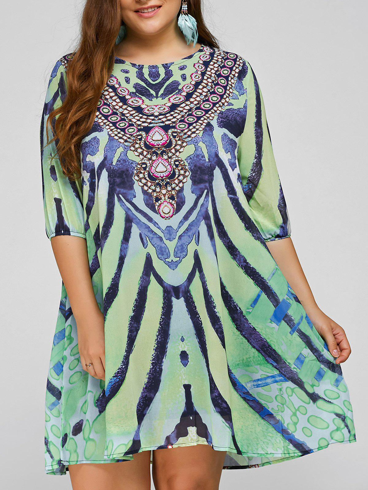 Buy Cool Plus Size African Style Print Swing Dress