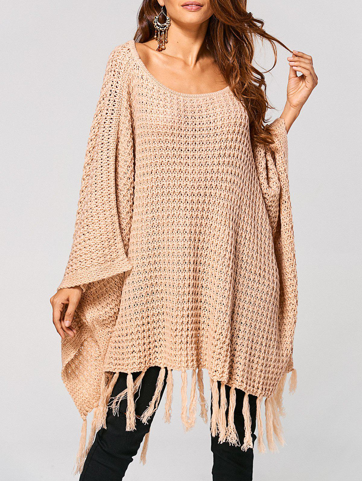 Shop Hollow Out Tassels Handkerchief Cape Sweater