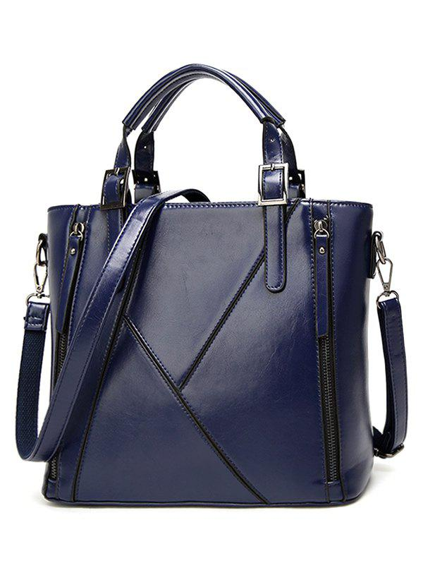Chic Zippers Buckles PU Leather Tote Bag