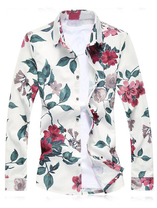 Plus Size Floral Leaves Print Long Sleeve ShirtMEN<br><br>Size: L; Color: RED; Shirts Type: Casual Shirts; Material: Cotton Blends,Polyester; Sleeve Length: Full; Collar: Turn-down Collar; Weight: 0.3080kg; Package Contents: 1 x Shirt;