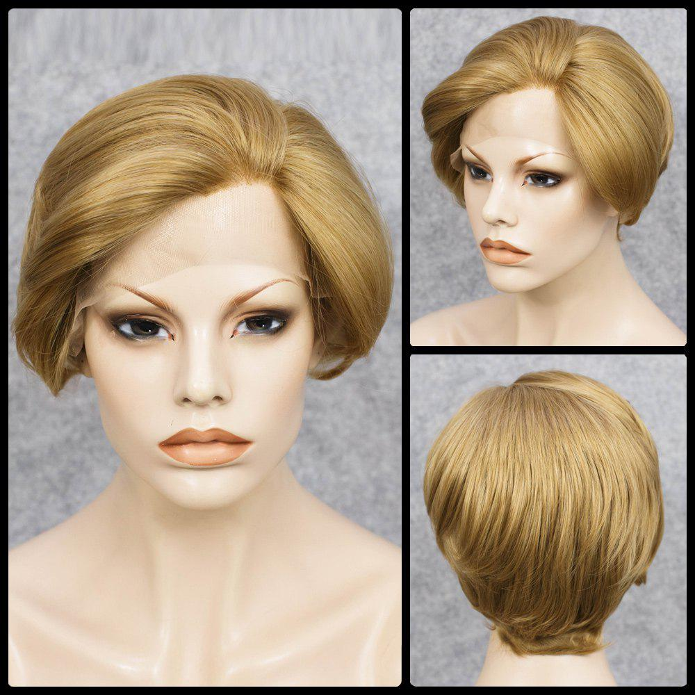 Fancy Short Straight Mixed Color Lace Front Synthetic Wig