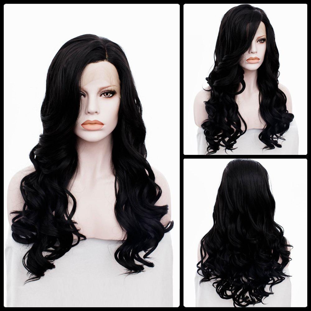Fashion Long Side Parting Wavy Lace Front Synthetic Wig