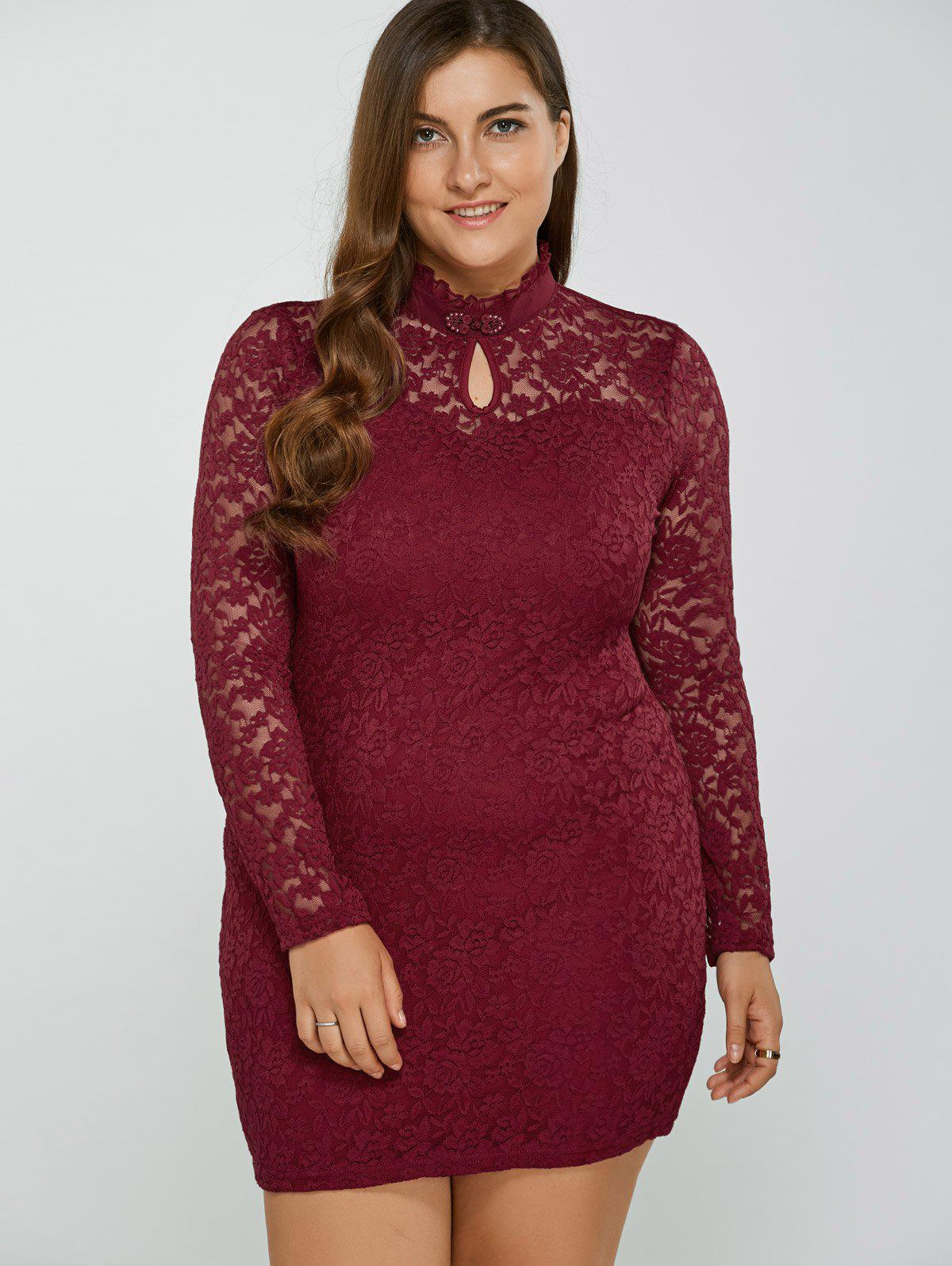 New Plus Size High Neck Lace Dress