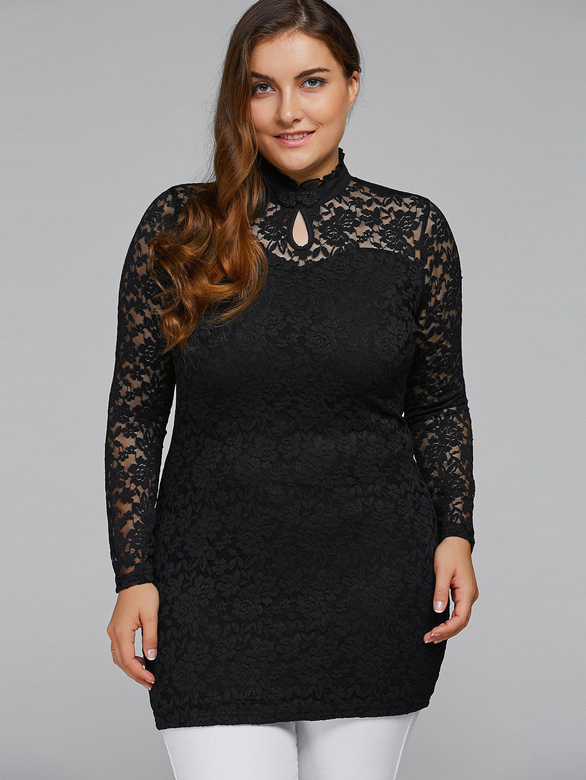 6b551f0a900 59% OFF  Plus Size High Neck Lace Dress