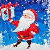 Funny Christmas Santa Claus Distributed Gifts Print Square Beach Throw -
