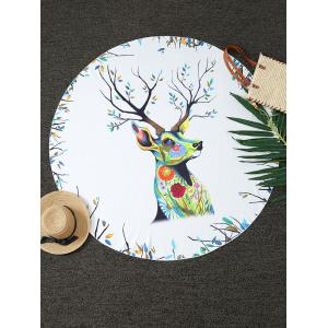 Christmas Reindeer Print Round Blanket Throw
