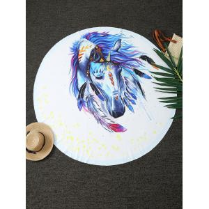 Dreamlike Horse Print Round Blanket Throw
