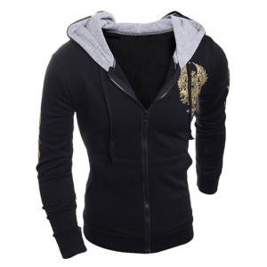 Long Sleeve Graphic Printed Drawstring Zip Up Hoodie