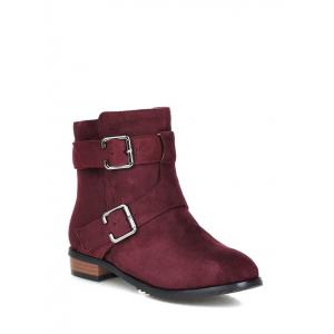 Buckles Flat Heel Round Toe Short Boots - Red Violet - 37
