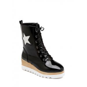 Square Toe Star Pattern Platform Short Boots