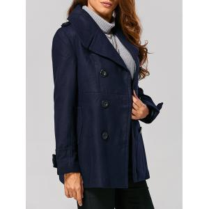 Fitting Woolen Pea Coat - Purplish Blue - L