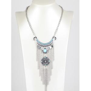 Bohemian Rhinestone Chain Fringe Necklace