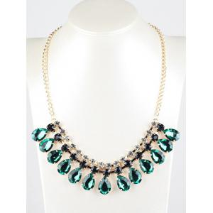 Rhinestone Faux Emerald Teardrop Necklace