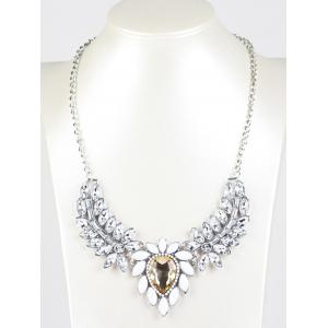 Faux Crystal Wings Pendant Necklace