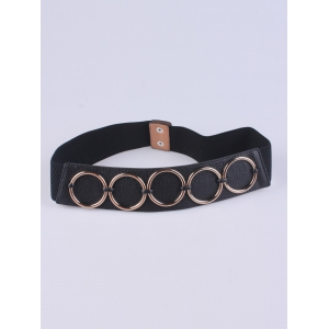 Coat Wear Tiered Matel Ring Buckle Stretch Belt - Black - One Size
