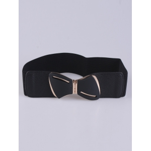 Emboss Stretch Bow Waist Belt - Black - One Size