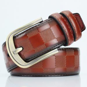 Casual Pin Buckle PU Plaid Belt