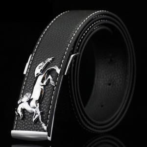 Polished Horse Hidden Pin Buckle PU Belt - Black