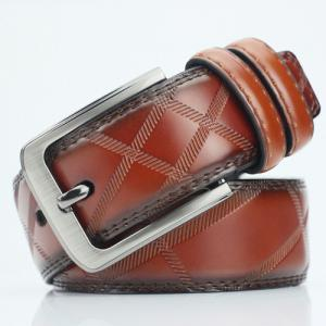 Pin Buckle PU Casual Plaid Belt - Brown